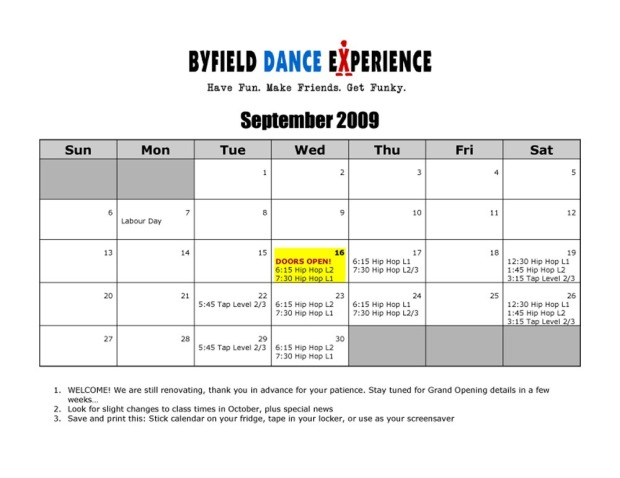 BDX September Studio Schedule