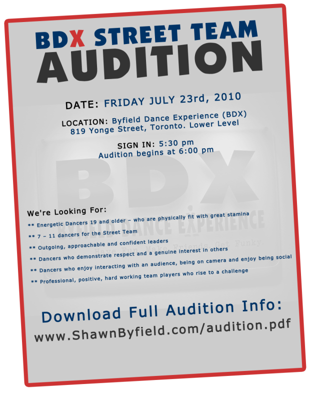 Toronto dance audition at BDX