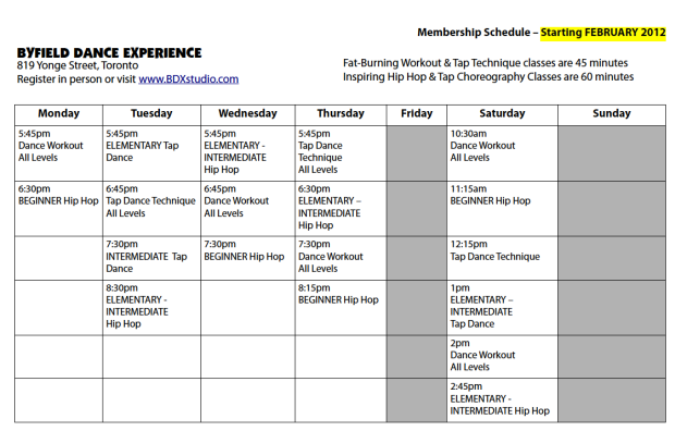 BDX NEW Schedule February