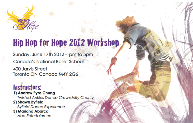 Shawn Byfield at Toronto Hip Hop For Hope Dance Workshop 2012