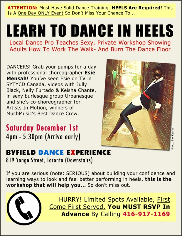 Toronto heels dance workshop at Byfield Dance Experience