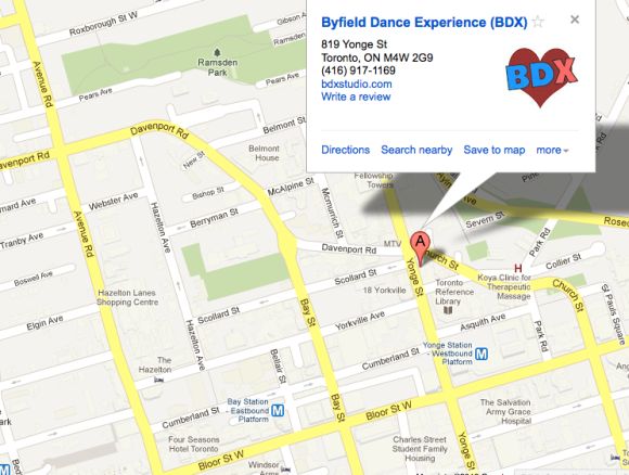 Beginner dance class Toronto map