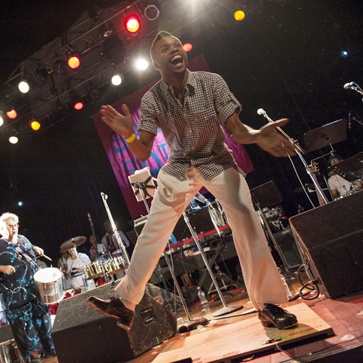 Black Canadian Awards nominee Shawn Byfield on stage with Samba Squad